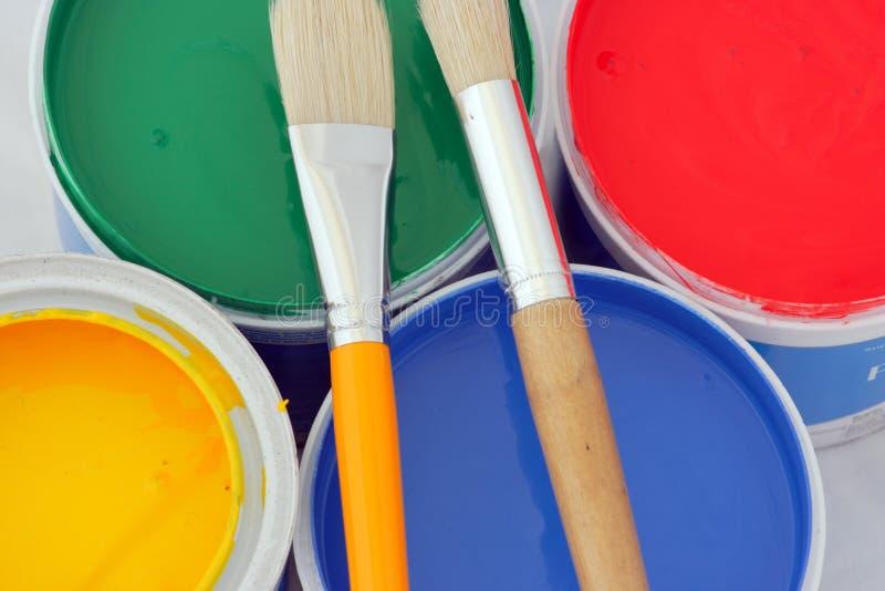油漆刷颜色 图库摄影