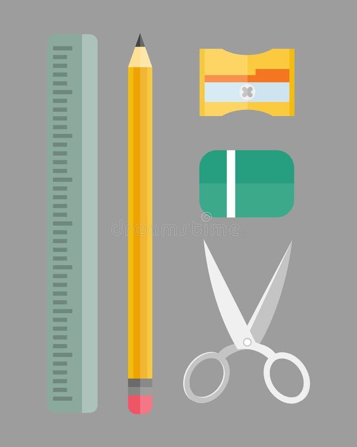 油漆和文字工具汇集平的样式上色了文具装置图和教育艺术家动画片 向量例证