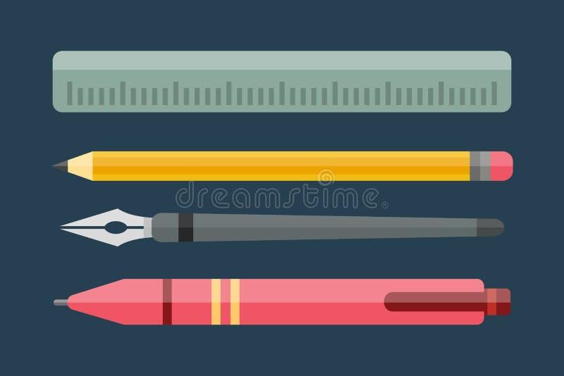 油漆和文字工具汇集平的样式上色了文具装置图和教育艺术家动画片 库存例证
