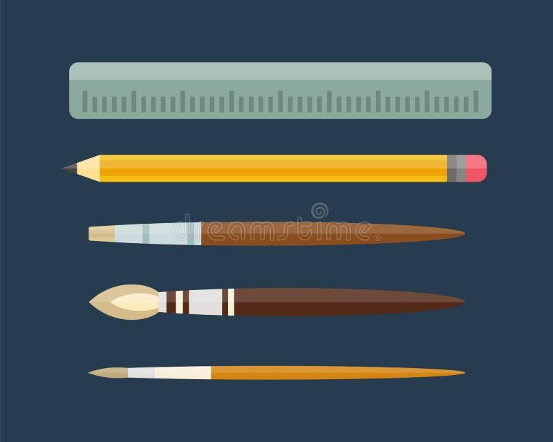 油漆和文字工具汇集平的样式上色了文具装置图和教育艺术家动画片 皇族释放例证