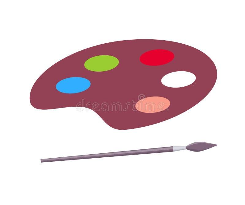 油漆和油漆刷传染媒介海报的调色板 库存例证