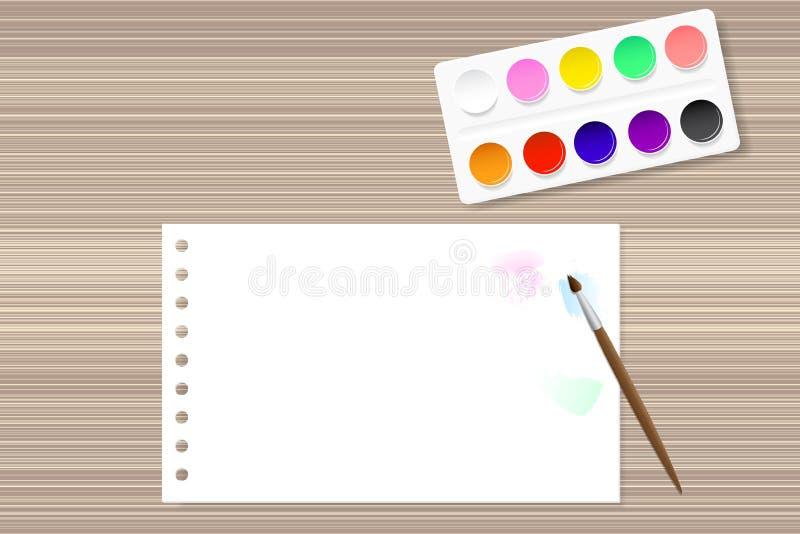 油漆和纸在木桌上 向量例证