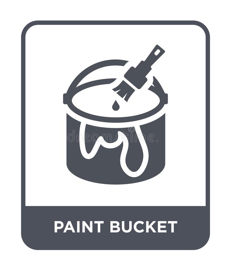 油漆在时髦设计样式的桶象 绘桶象被隔绝在白色背景 油漆桶简单传染媒介的象和 皇族释放例证