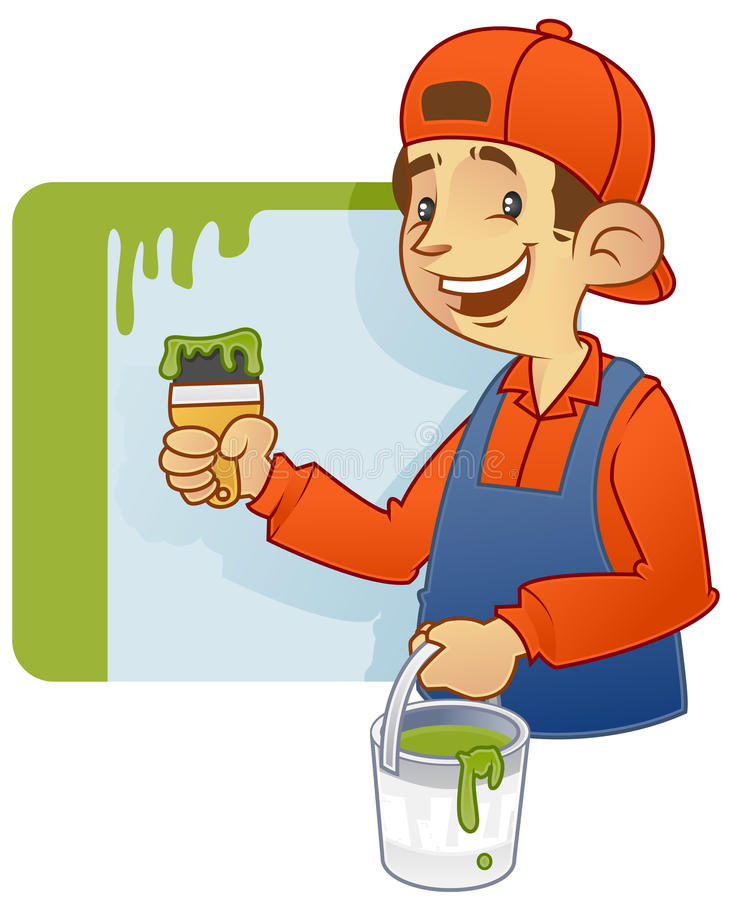 油漆工房屋油漆工 向量例证