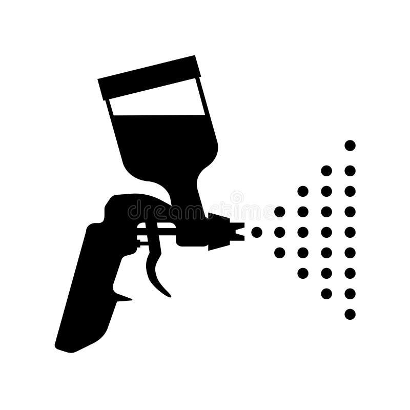 油漆枪象 气刷标志-传染媒介 向量例证