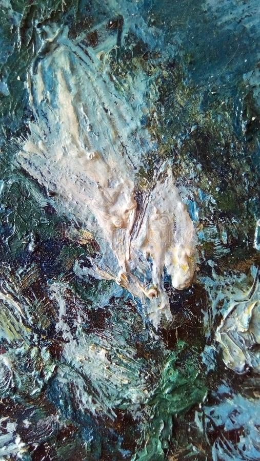 油漆污迹特写镜头帆布的表面上的 免版税库存图片