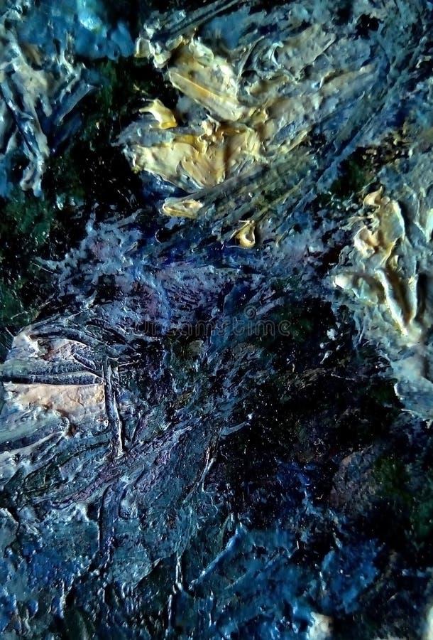 油漆污迹特写镜头帆布的表面上的 库存照片