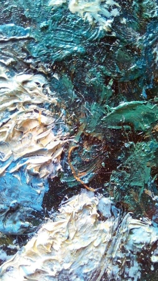 油漆污迹特写镜头帆布的表面上的 图库摄影