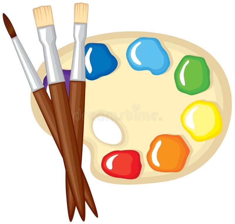 油漆油漆刷和调色板  向量例证