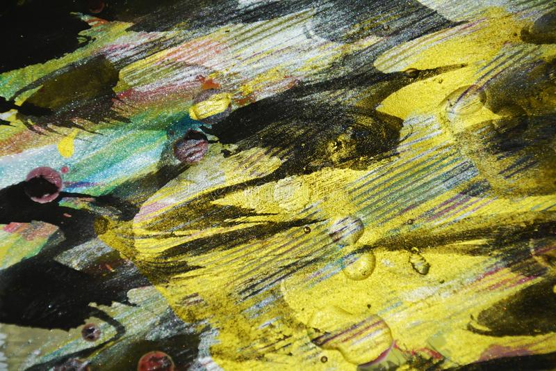 油漆深蓝金子桃红色银紫色飞溅油漆 水彩油漆摘要背景 库存图片