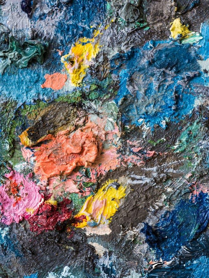 油漆特写镜头在艺术家调色板的  向量例证