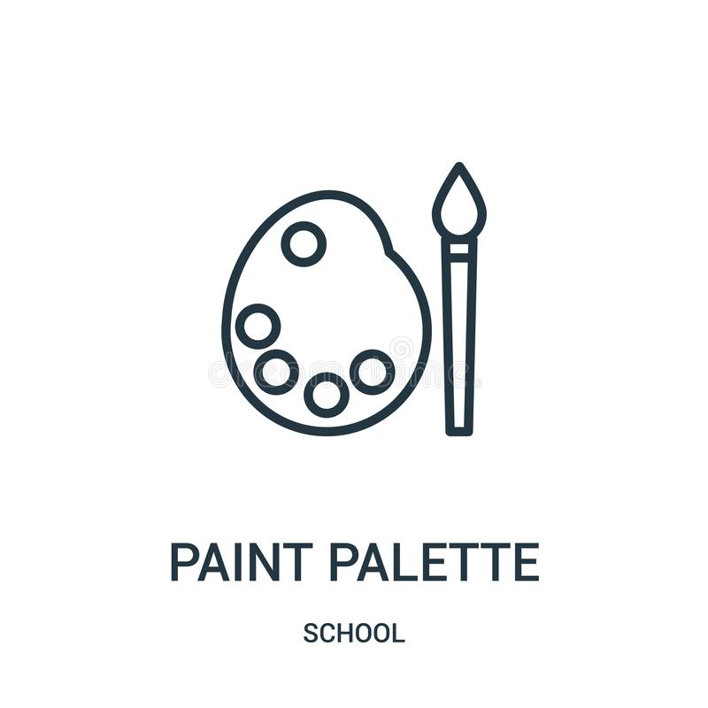 油漆调色板从学校汇集的象传染媒介 稀薄的线油漆调色板概述象传染媒介例证 线性标志为使用 库存例证