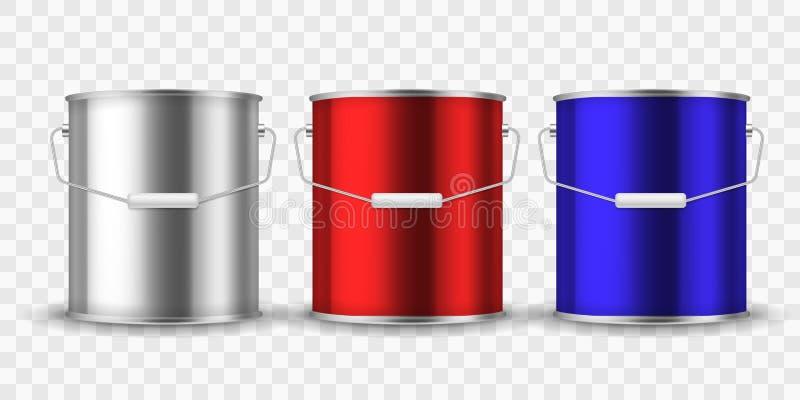 油漆钢罐头 有把柄的银色桶金属罐头包裹油漆铝制容器现实内部的整修的 库存例证