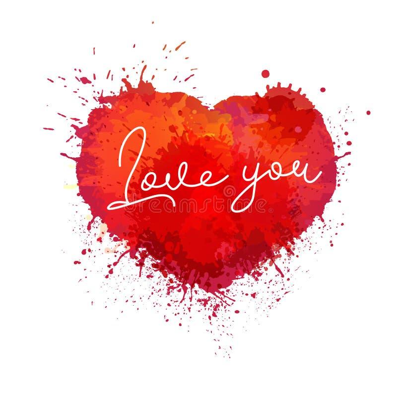 油漆飞溅心脏传染媒介彩色插图 爱水彩喷溅图画 向量例证