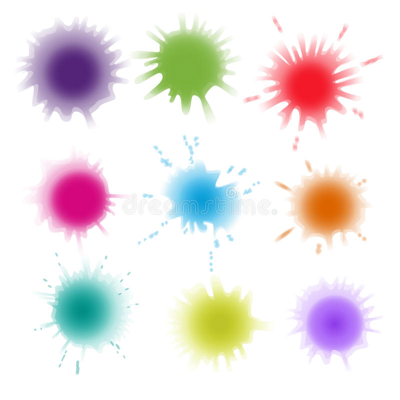 油漆飞溅的汇集 传染媒介集合刷子冲程 背景查出的白色 向量例证