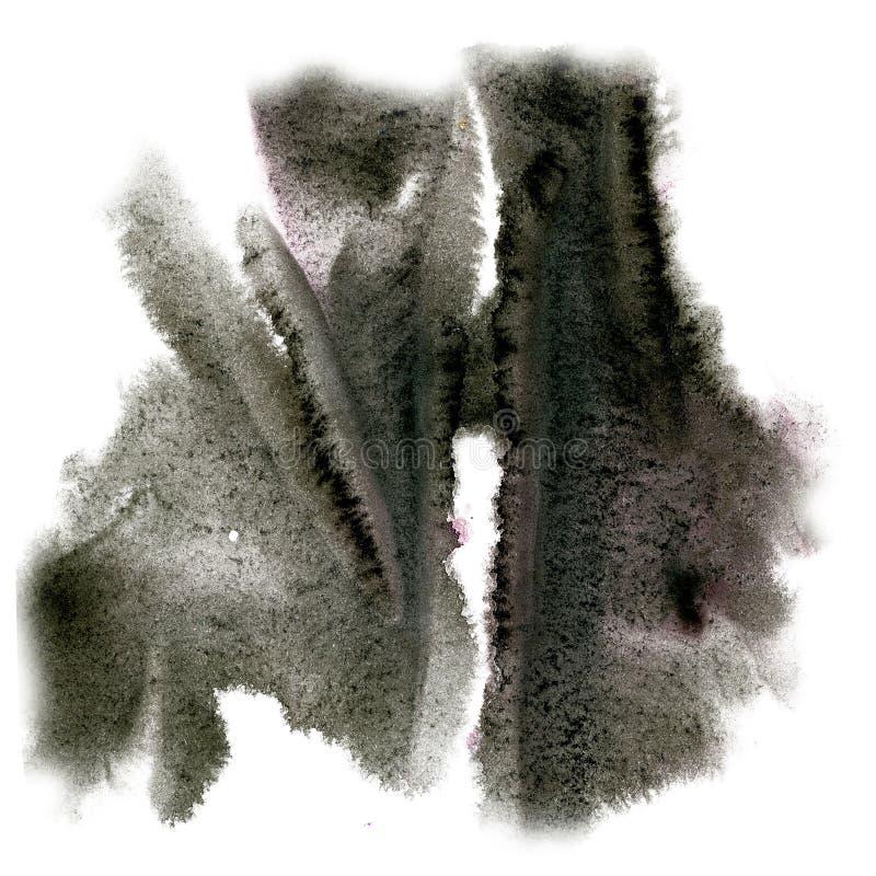 油漆飞溅颜色墨水水彩黑色隔绝了冲程泼溅物水彩aquarel刷子 免版税图库摄影
