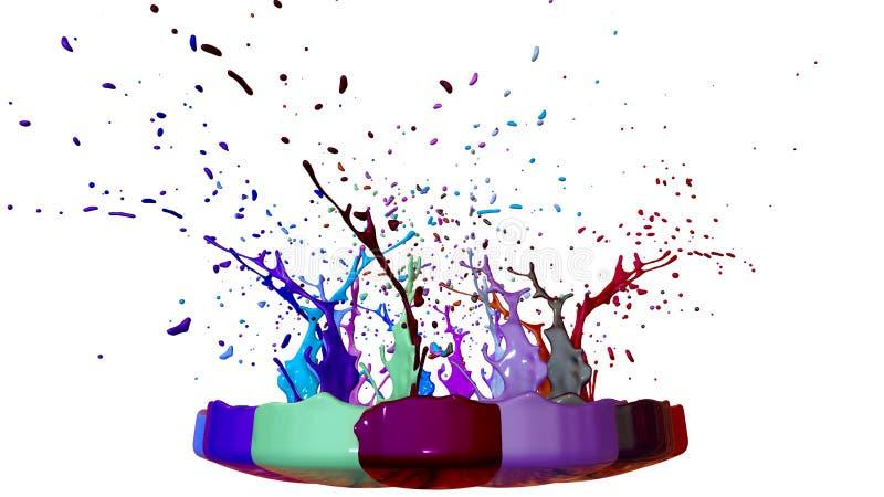 油漆飞行在白色背景的瓶子外面 演奏音乐3d的模仿飞溅墨水在一位音乐报告人 免版税库存照片