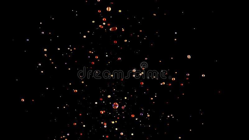 油漆,色的下落星系飞溅在黑色,抽象背景的 库存照片