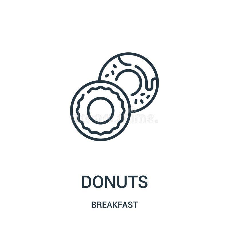 油炸圈饼从早餐汇集的象传染媒介 稀薄的线油炸圈饼概述象传染媒介例证 线性标志为在网的使用和 库存例证