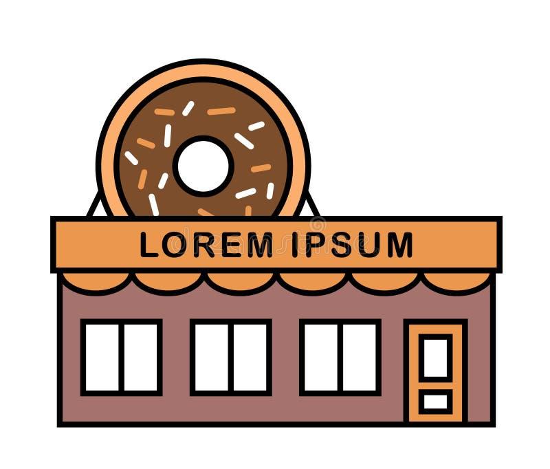 油炸圈饼商店和咖啡馆与牌 五颜六色,色的传染媒介平的例证 与釉的大鲜美多福饼在屋顶 烘烤 皇族释放例证