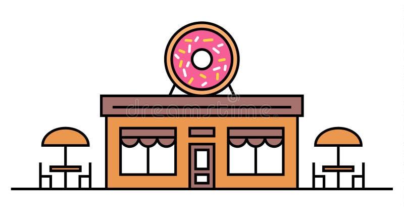 油炸圈饼商店或咖啡馆与两张桌 色的传染媒介平的例证 设计 牌用与釉的大鲜美多福饼 咖啡馆 库存例证