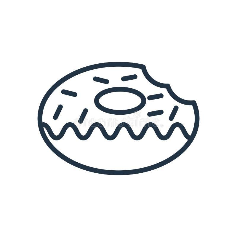 油炸圈饼在白色背景隔绝的象传染媒介,油炸圈饼签字 向量例证