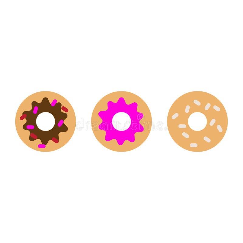 油炸圈饼平的象,传染媒介标志,在白色隔绝的五颜六色的图表 向量例证
