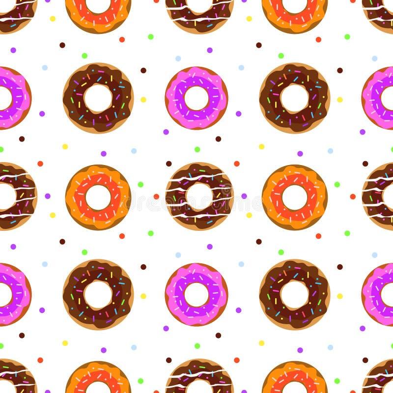 油炸圈饼无缝的样式 向量例证