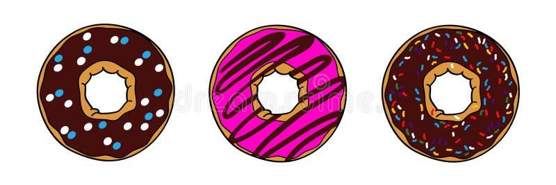 油炸圈饼用棕色巧克力和桃红色釉 向量例证