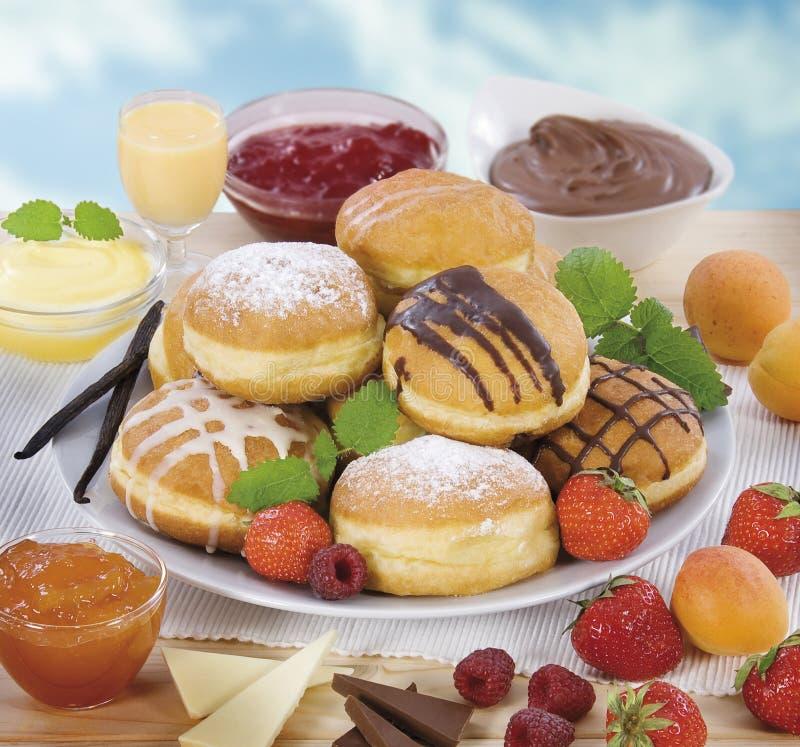 油炸圈饼种类 免版税库存图片