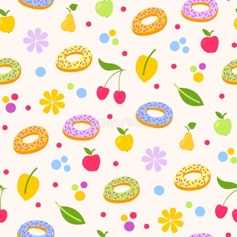 油炸圈饼鲜美coockie seeamless样式传染媒介背景 向量例证