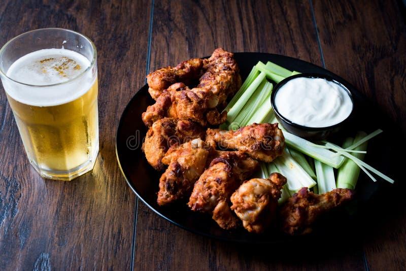 油炸鸡翅用垂度调味汁和啤酒 库存照片