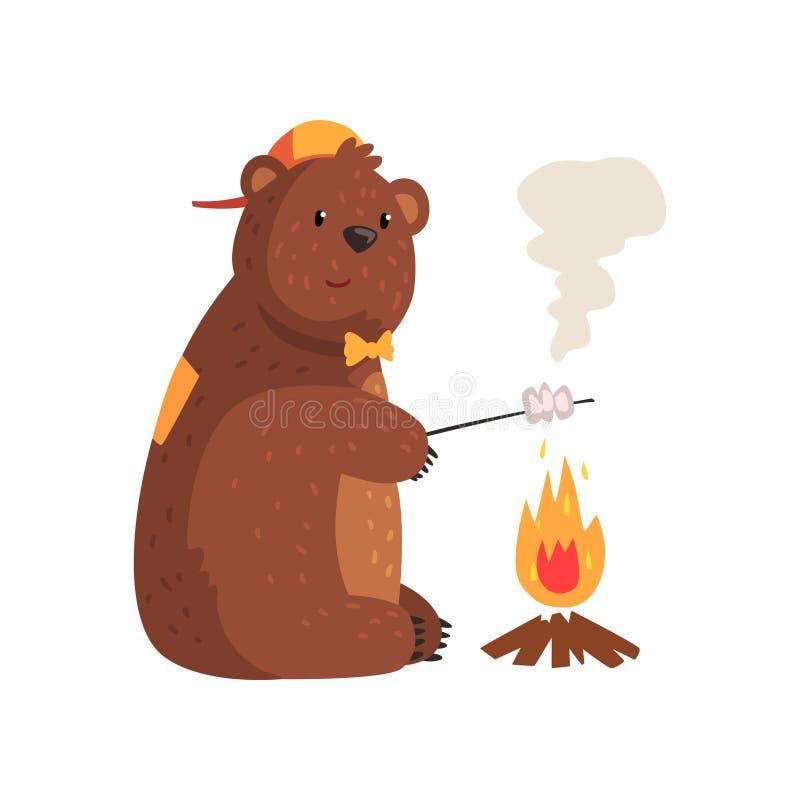 油煎在火的动画片熊蛋白软糖在森林 敬慕 库存例证