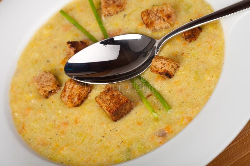油煎方型小面包片土豆汤 库存图片