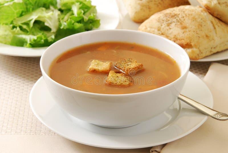 油煎方型小面包片汤蔬菜 免版税库存图片