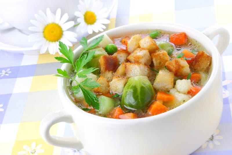 油煎方型小面包片汤蔬菜 库存照片
