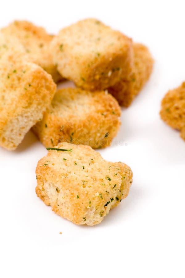 油煎方型小面包片 库存图片