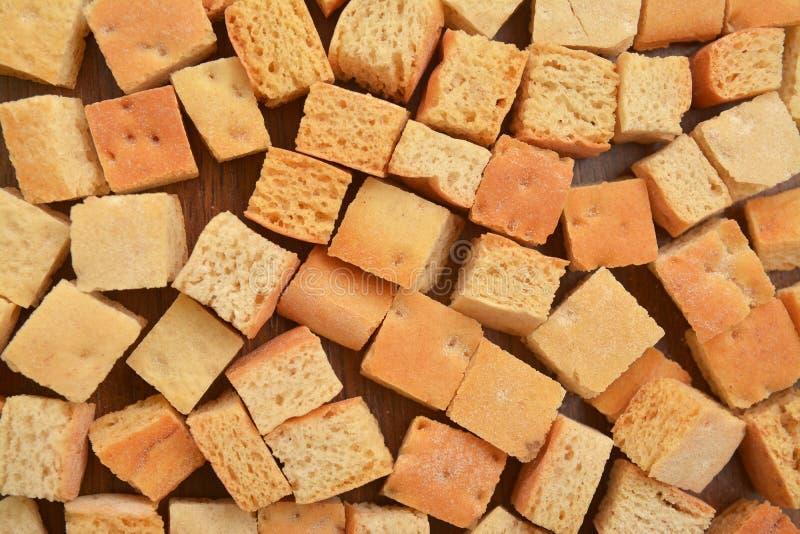 油煎方型小面包片 库存照片