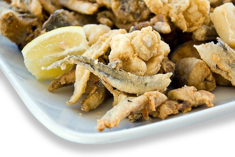 油煎混合的鱼 免版税库存照片
