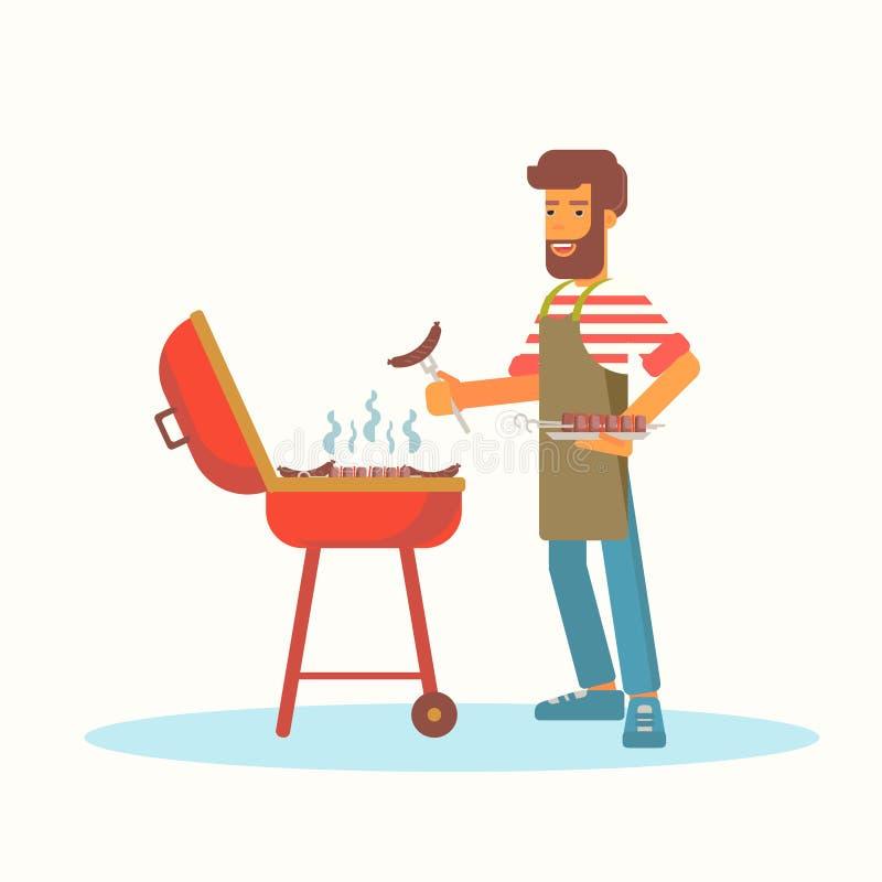 油煎烤肉平的彩色插图的年轻人 向量例证