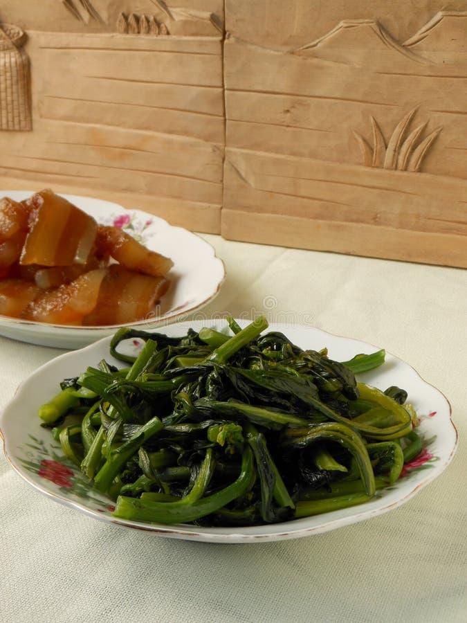 油煎的中国开花的圆白菜 免版税图库摄影