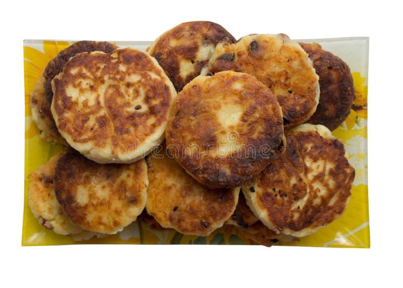 油煎的乳酪薄煎饼。 免版税图库摄影