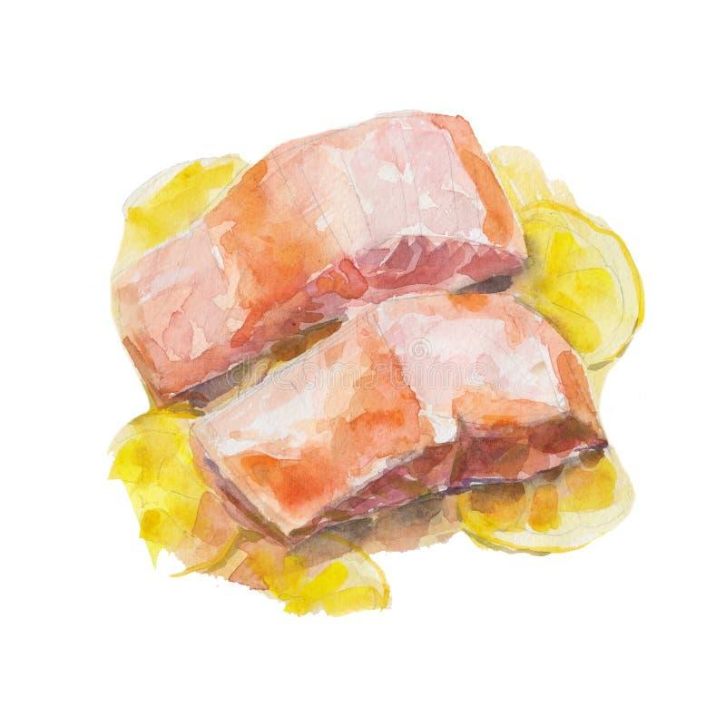 油煎的切片三文鱼用在白色背景隔绝的柠檬,水彩例证 向量例证