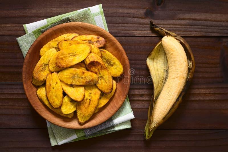 油煎的切片成熟大蕉 图库摄影