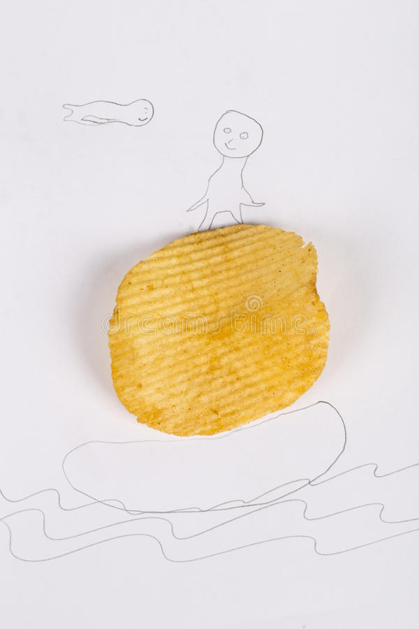 油煎的土豆片和小人 免版税库存照片