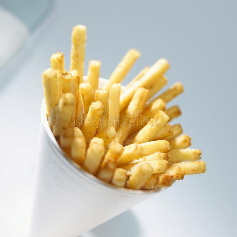 油煎的土豆,食物芯片 免版税库存照片