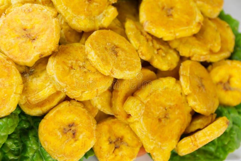 油煎的大蕉背景 免版税库存图片