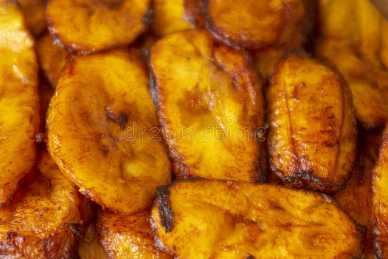 油煎的大蕉膳食 免版税库存照片