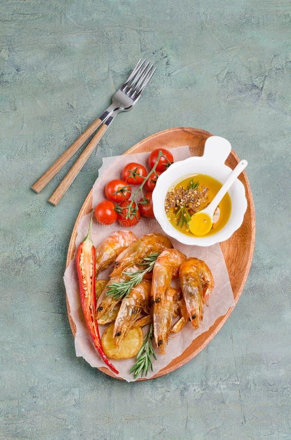 油煎的大虾 图库摄影