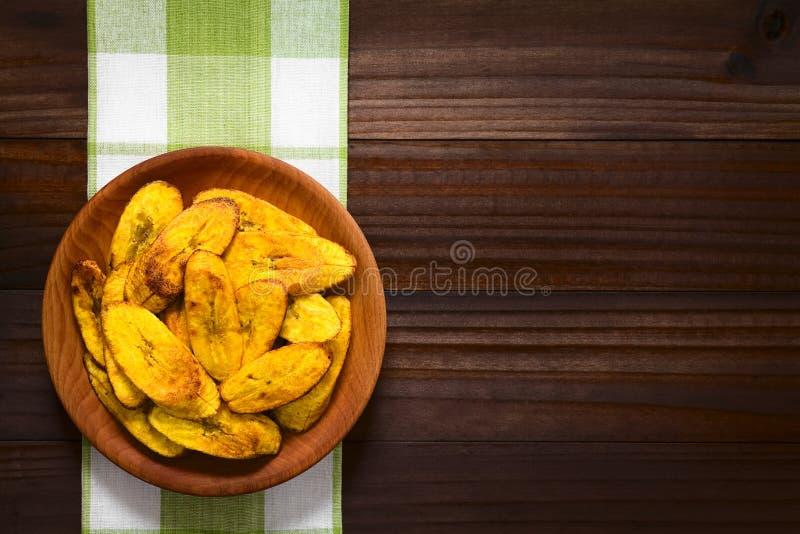 油煎的成熟大蕉切片 库存照片